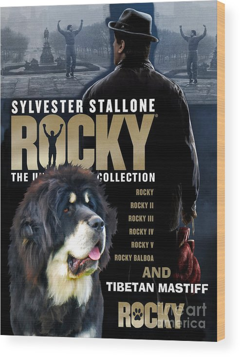 Tibetan Mastiff Wood Print featuring the painting Tibetan Mastiff Art Canvas Print - Rocky Movie Poster by Sandra Sij