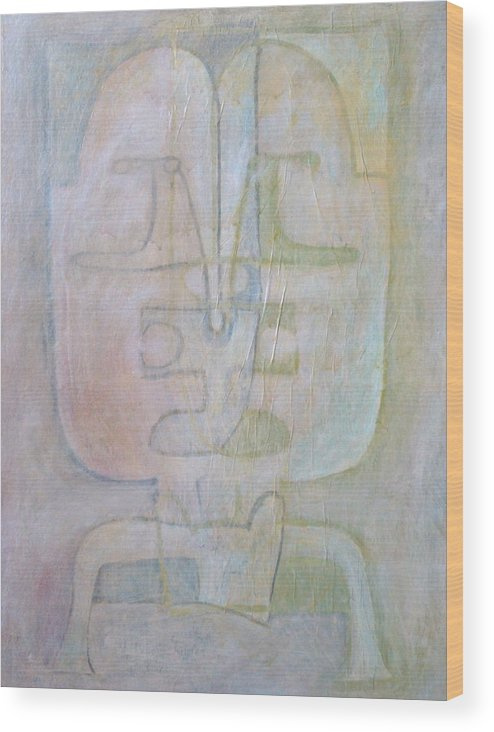 Abstract Faces Wood Print featuring the painting Till We Have Faces by W Todd Durrance