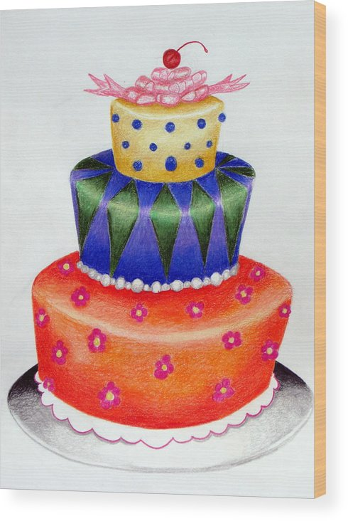 Food Wood Print featuring the drawing Topsy Turvy Cake by Kori Vincent
