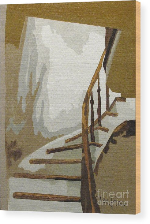 Stairs Wood Print featuring the painting Up The Staircase by Nancie Johnson