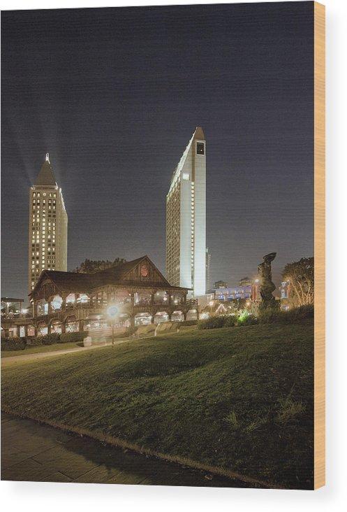 Nighttime Wood Print featuring the photograph Village Glow by Joe Darin