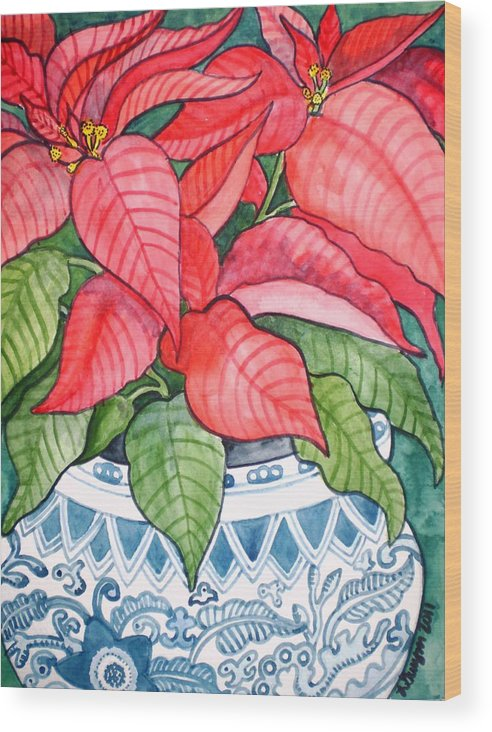 Christmas Flower Wood Print featuring the painting Vintage Poinsettia by Leslie Gwynn