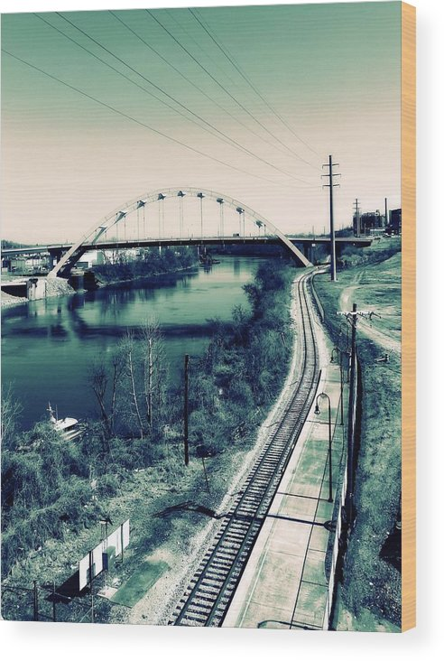 Vintage Train Tracks In Nashville Wood Print featuring the photograph Vintage Train Tracks In Nashville by Dan Sproul
