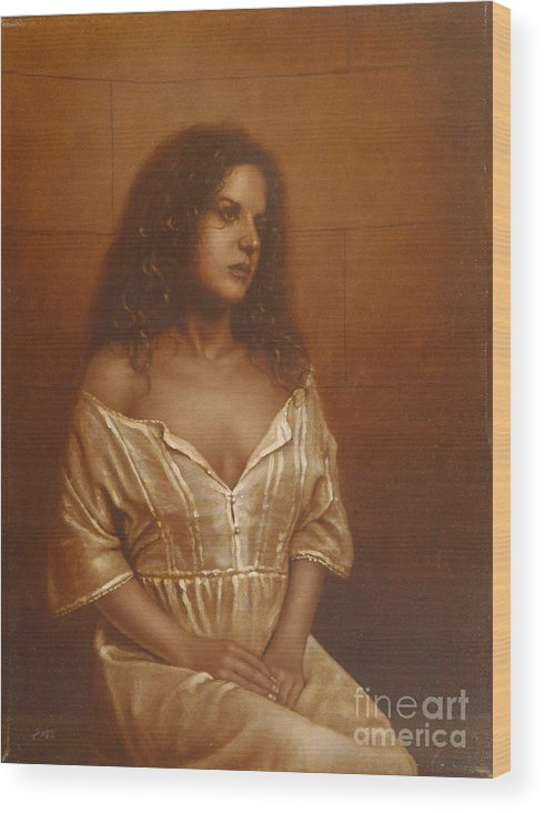 Girl Wood Print featuring the painting Waiting For Her Lover by John Silver