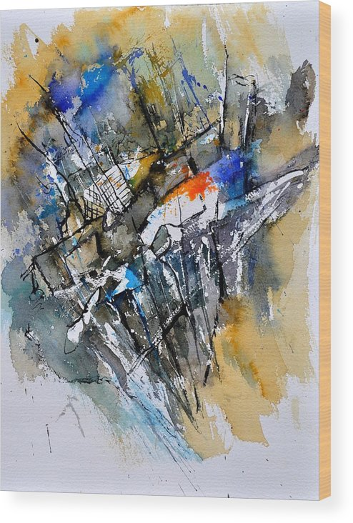 Abstract Wood Print featuring the painting Watercolor 314090 by Pol Ledent