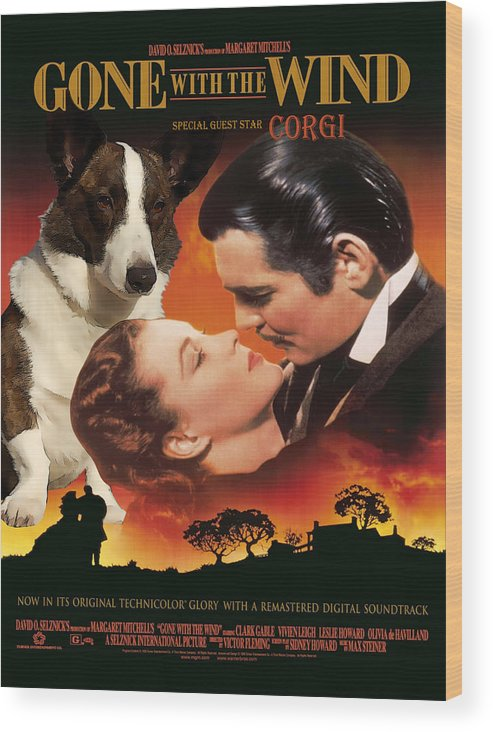 Welsh Corgi Cardigan Wood Print featuring the painting Welsh Corgi Cardigan Art Canvas Print - Gone With The Wind Movie Poster by Sandra Sij