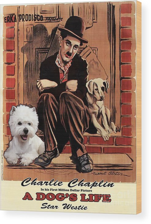 Westie Wood Print featuring the painting West Highland White Terrier Art Canvas Print - A Dogs Life Movie Poster by Sandra Sij
