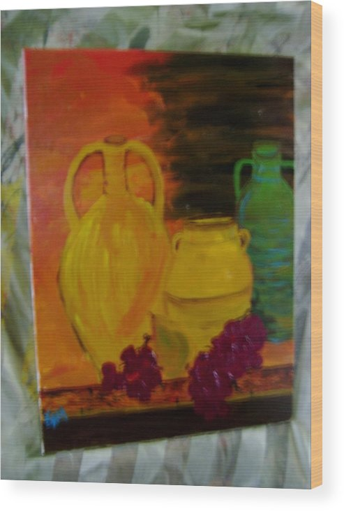 Wine Wood Print featuring the painting Wine Bottle Assortiment by K