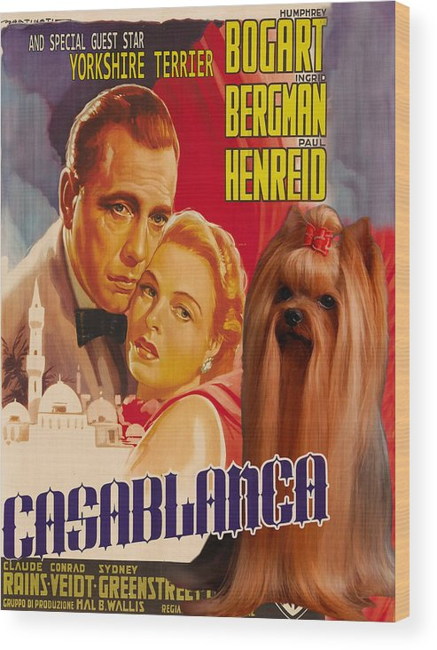 Yorkshire Terrier Wood Print featuring the painting Yorkshire Terrier Art Canvas Print - Casablanca Movie Poster by Sandra Sij