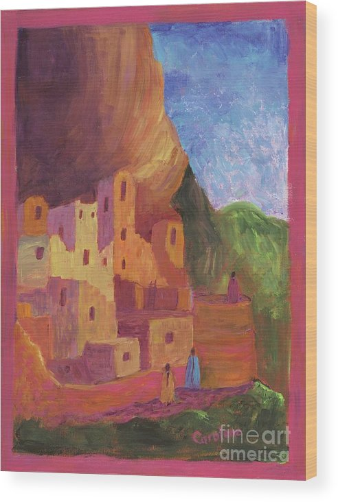 Mesa Verde Wood Print featuring the painting Mesa Verde Revisited by Carolene Of Taos