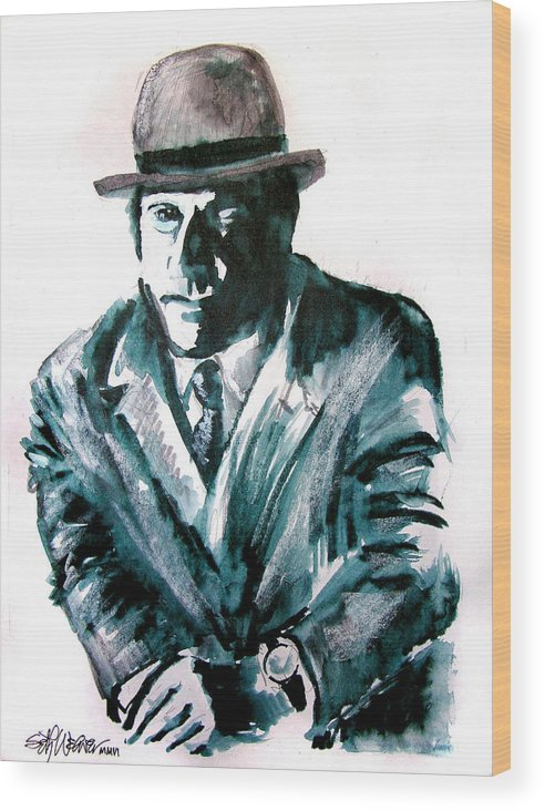 Ron Moody Wood Print featuring the drawing A Dapper Brit-portrait Of Ron Moody by Seth Weaver