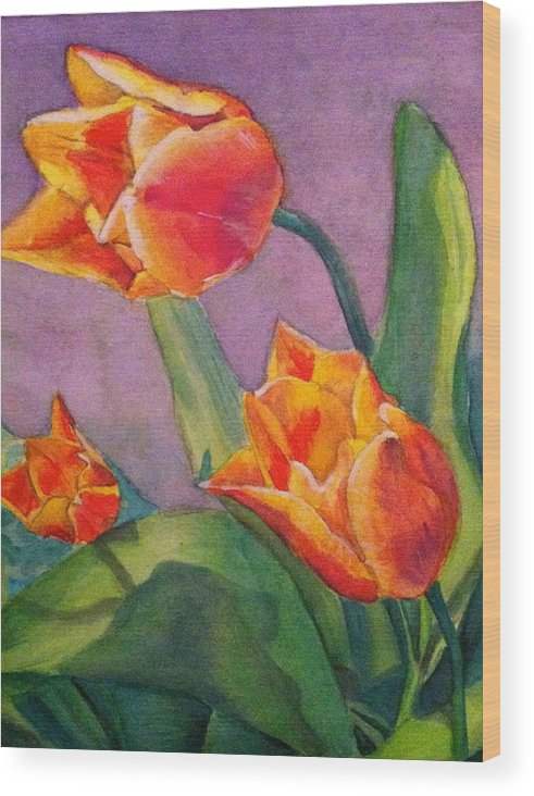 Tulips Wood Print featuring the painting An Early Bloom by Tiffany Albright