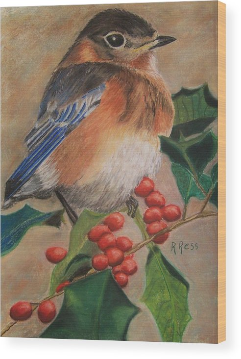 Bird Wood Print featuring the painting Bluebird And Berries by Roberta Ress