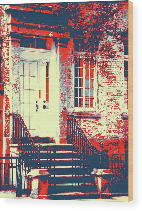 Brownstone Wood Print featuring the photograph Brownstone 20 by Marvin Blatt