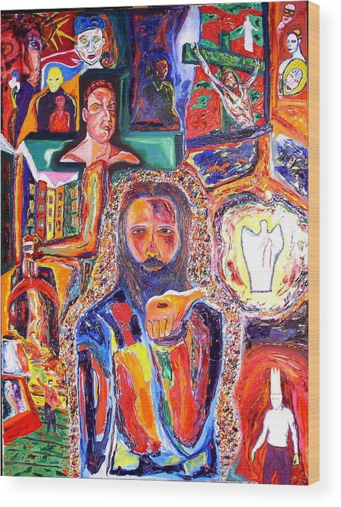 Expressive Portrait Wood Print featuring the painting Co-crucified With Christ by Kennedy Paizs