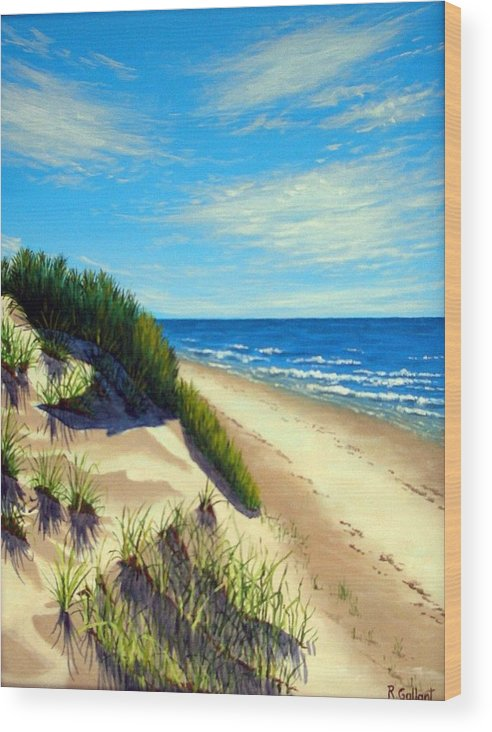 Seascape Wood Print featuring the painting Dunes At Dalvay by Rick Gallant