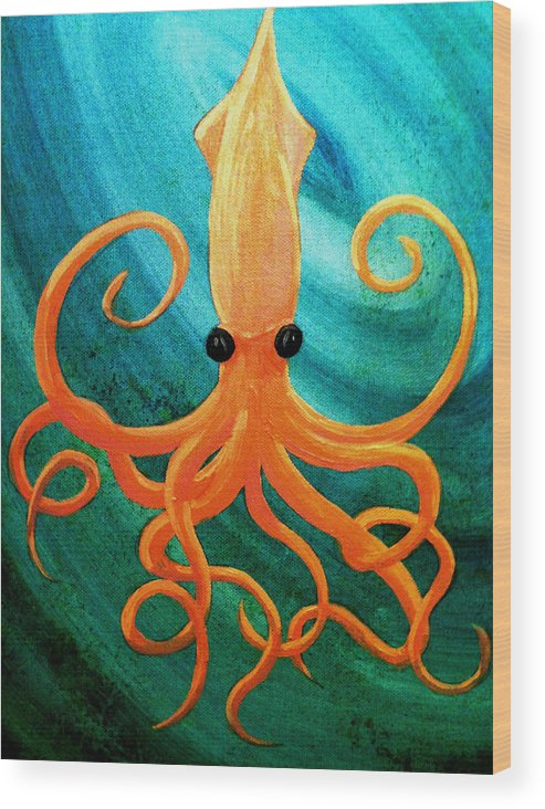 Squid Ocean Swirl Whirlpool Tentacles Sea Creature Wood Print featuring the painting From The Deep by Russell Barnes