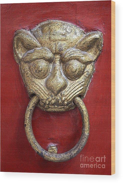 Door Knocker Wood Print featuring the photograph Golden Temple Door Knocker by Carol Groenen