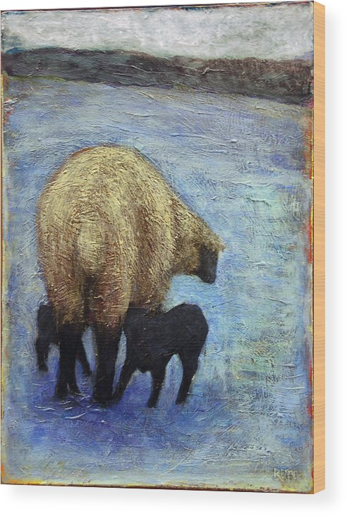 Monkton Ewe With Her Lambs In The Snowy Field - Vermont Wood Print featuring the painting Monkton Ewe With Her Lambs In The Snowy Field by Lynn Rupe