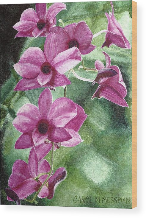 Orchid Wood Print featuring the painting Orchid In The Shadows by Carol Messman Steele