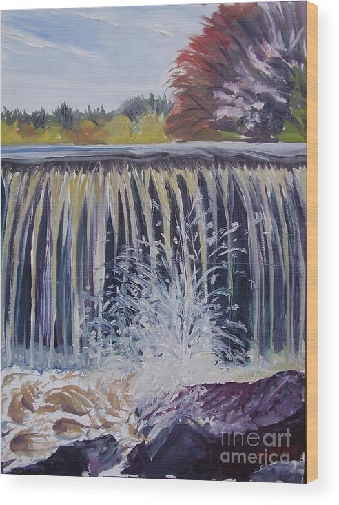 Landscape Wood Print featuring the painting Over The Dam by Nelson Dale