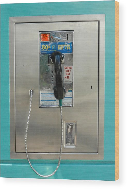 Guy Whiteley Photography Wood Print featuring the photograph Pay Phone by Guy Whiteley
