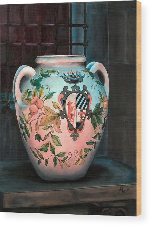 Urn Wood Print featuring the painting Tlaguepaque Urn by Judith Koppes