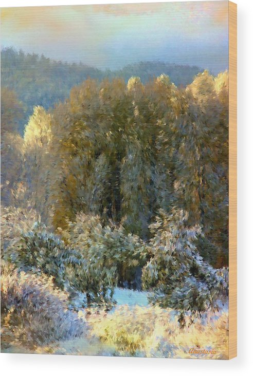 Swirls Of Snow Crystals Mingle With Leaves Blown By Winter�s Breath Wood Print featuring the photograph First Snow And Bosque Glow by Anastasia Savage Ealy