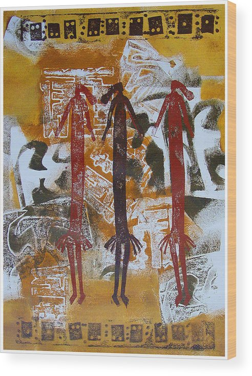 Female Figures Wood Print featuring the painting Three Sisters by Dale Witherow