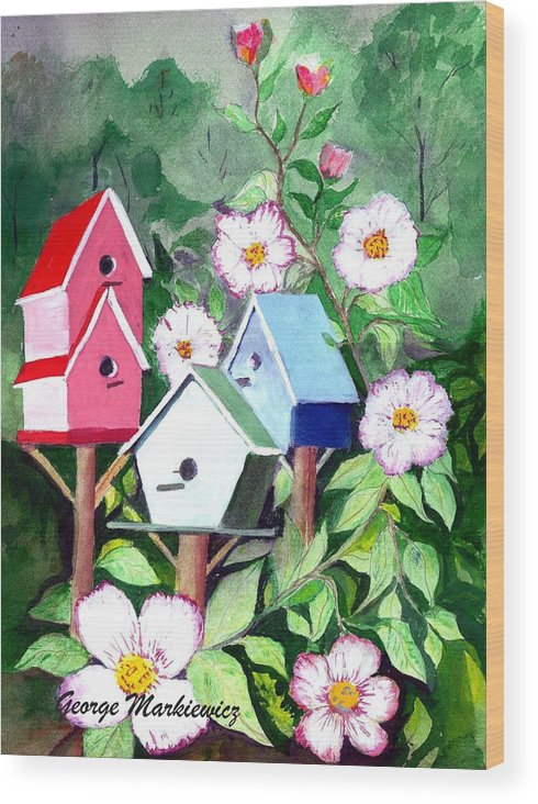 Birdhouse Wood Print featuring the print Birdhouse by George Markiewicz