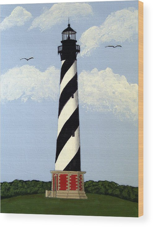 Lighthouse Paintings Wood Print featuring the painting Cape Hatteras Lighthouse by Frederic Kohli