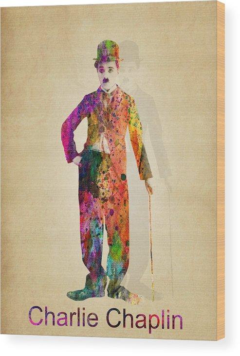 Charlie Chaplin Wood Print featuring the painting Charlie Chaplin by Mark Ashkenazi