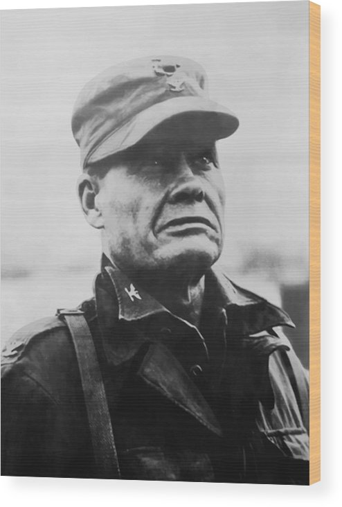 Chesty Puller Wood Print featuring the painting Chesty Puller by War Is Hell Store