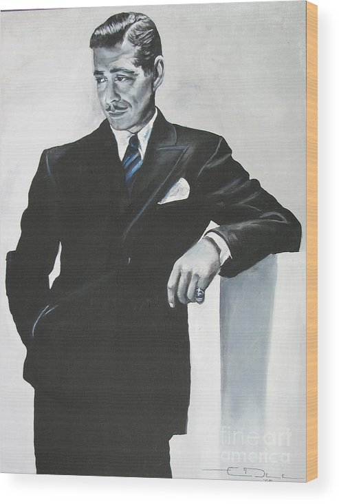 Clark Gable Wood Print featuring the painting Clark Gable by Eric Dee