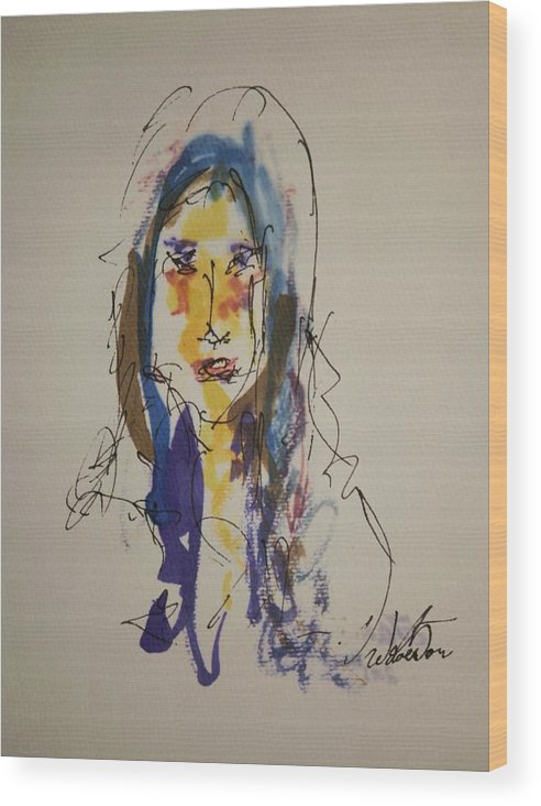 Portrait Wood Print featuring the painting Female Face Study B by Edward Wolverton