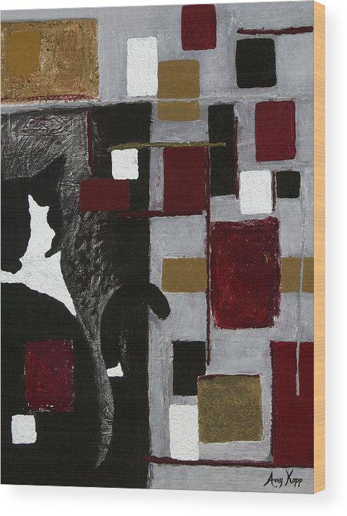 Abstract Wood Print featuring the painting Hidden Patrick by Amy Parker Evans