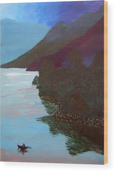 Landscape Wood Print featuring the painting Lake By The Mountains by Natalee Parochka