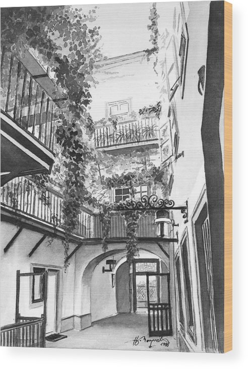Evy Wood Print featuring the painting Old Viennese Courtyard by Johannes Margreiter