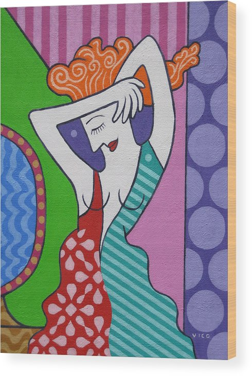 Acrylic Painting. Girl. Modern Art Painting. Canvas Art.  Wood Print featuring the painting The Mirror. by Vico Vico