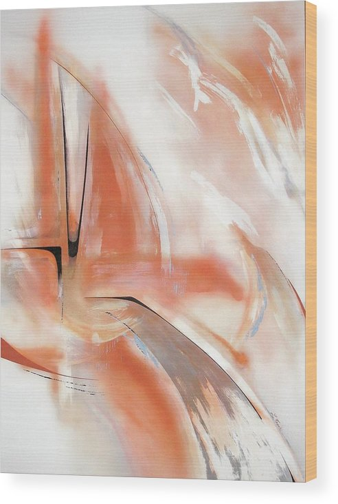 Abstract Wood Print featuring the painting Untitled by Linda Frank