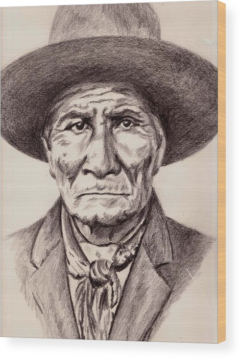 Geronimo Wood Print featuring the drawing Geronimo by Toon De Zwart