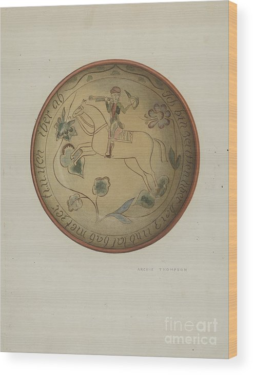 Wood Print featuring the drawing Pa. German Plate by Eugene Shellady