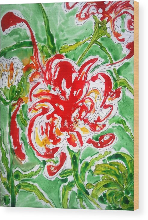 Abstract Flowers Floral Botanical Nature Wood Print featuring the painting Divine Flowers by Baljit Chadha