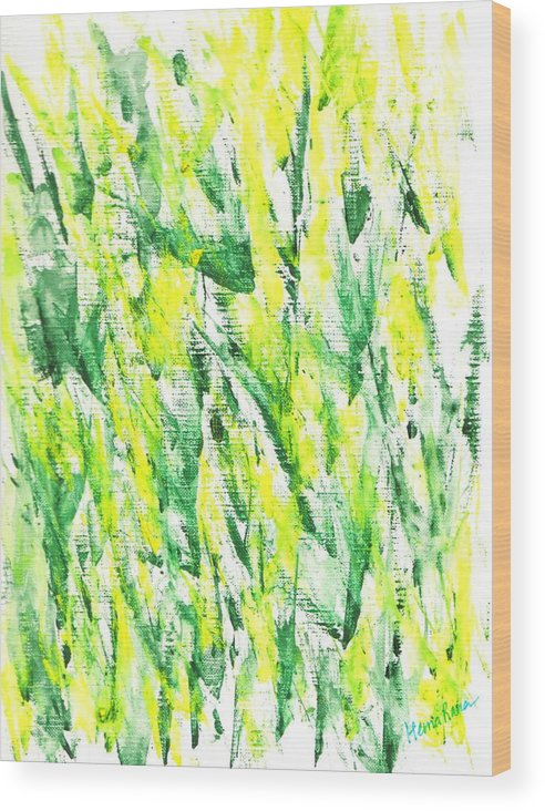 Abstract Painting Wood Print featuring the painting Abstract Flowers by Hema Rana