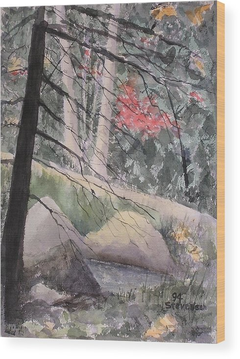 Forest Glen Wood Print featuring the painting Adirondacks by Joseph Stevenson