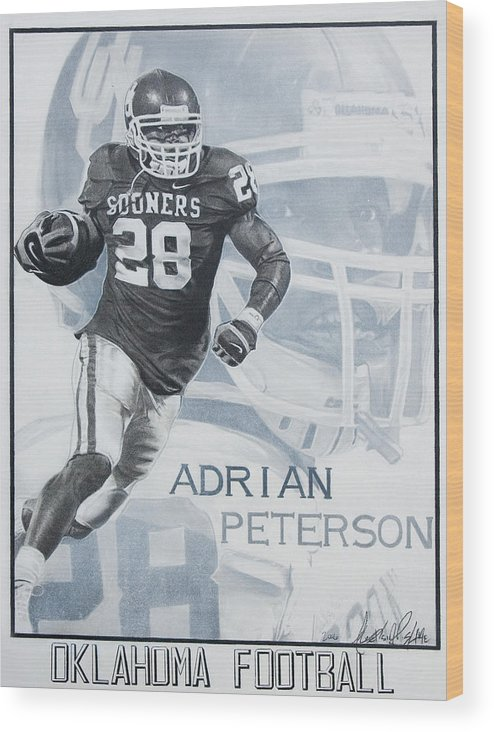 Sports Wood Print featuring the photograph Adrian Peterson by Raymond Potts