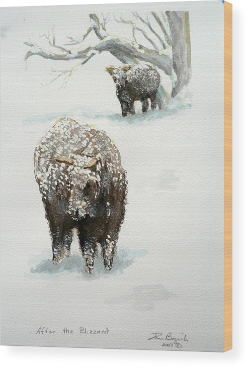 Cattle Wood Print featuring the painting After The Blizzard by Dan Bozich