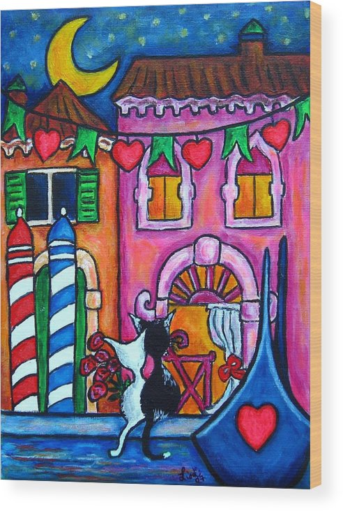 Cats Wood Print featuring the painting Amore In Venice by Lisa Lorenz