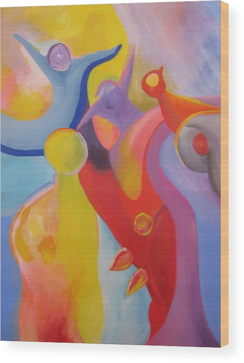 Abstract Wood Print featuring the painting An Interdimensional Link by Peter Shor