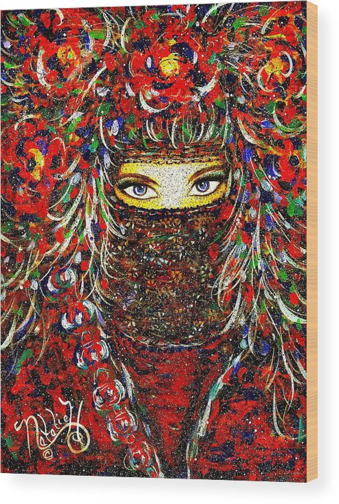 Woman Wood Print featuring the painting Arabian Eyes by Natalie Holland